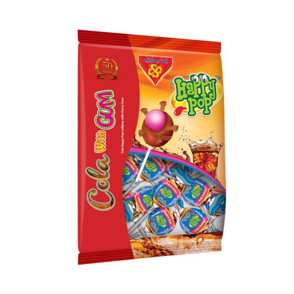 Cola Happy Pop Lollipop with Cherry Gum - Bag 10 pcs
