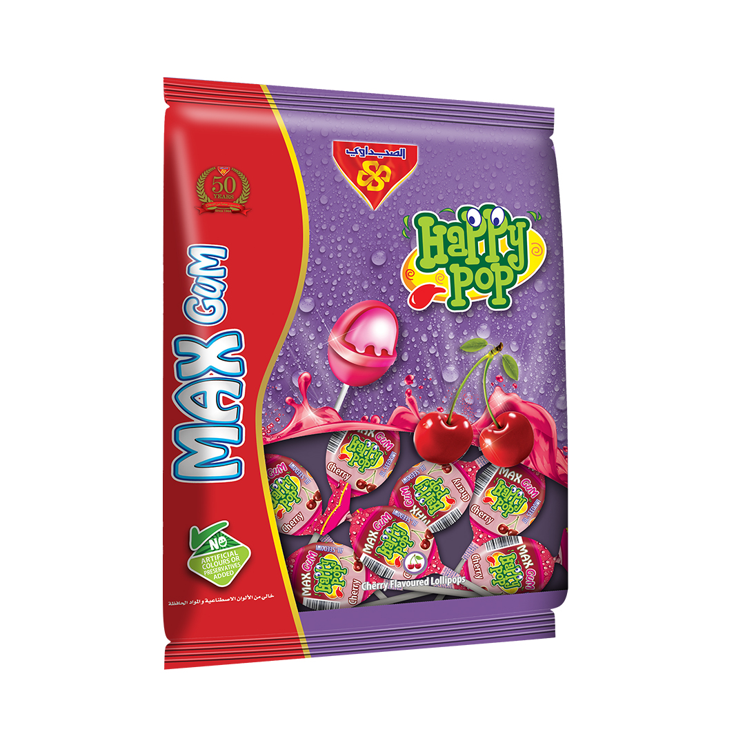 Happy Pop Max Cherry with Gum Bags 18gm